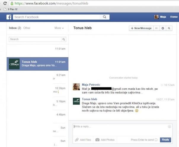 FB - prepiska privatna